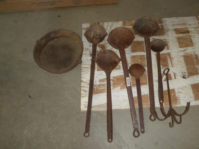 Lot # 232 - Vintage Lead Melting Ladles & Cast Iron 3 Legged Pot (main image)