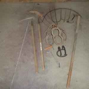 Lot # 236 - Vintage Scythe Sickles, Horseshoe Art & Hay Forks