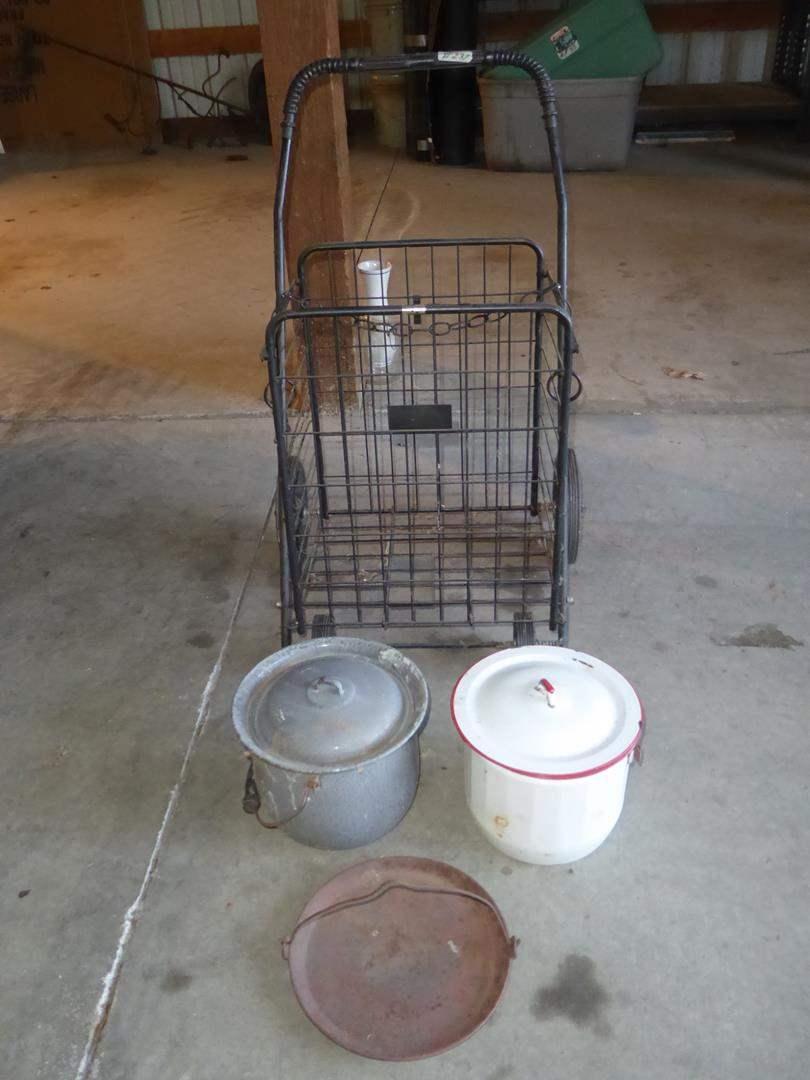 Lot # 237 - Vintage Cast Iron Griddle, Enamelware Lidded Pots & Folding Metal Cart (main image)