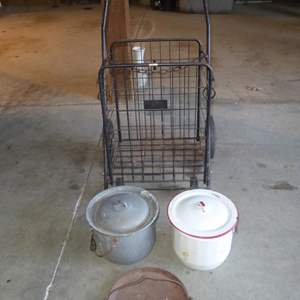 Lot # 237 - Vintage Cast Iron Griddle, Enamelware Lidded Pots & Folding Metal Cart
