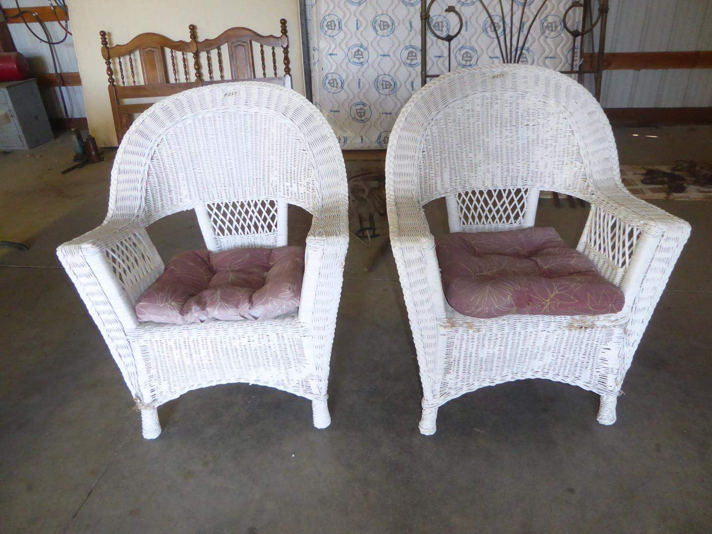 Lot # 238 - Vintage Pair Wicker Patio Chairs (main image)