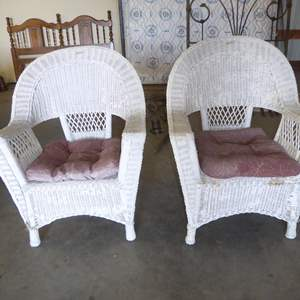 Lot # 238 - Vintage Pair Wicker Patio Chairs