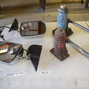 Lot # 239 - Pair 1997 Dodge Truck Electric Side Mirrors & Two Bottle Jacks