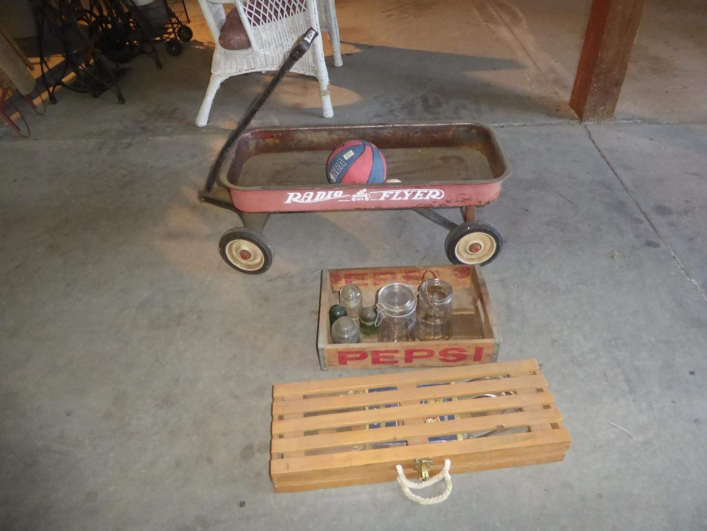 Lot # 240 - Horseshoe Game, Pepsi Crate, Insulators, Jars, Balls & Radio Flyer Wagon (main image)