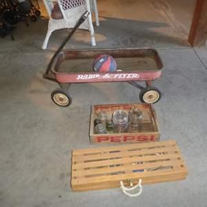 Lot # 240 - Horseshoe Game, Pepsi Crate, Insulators, Jars, Balls & Radio Flyer Wagon