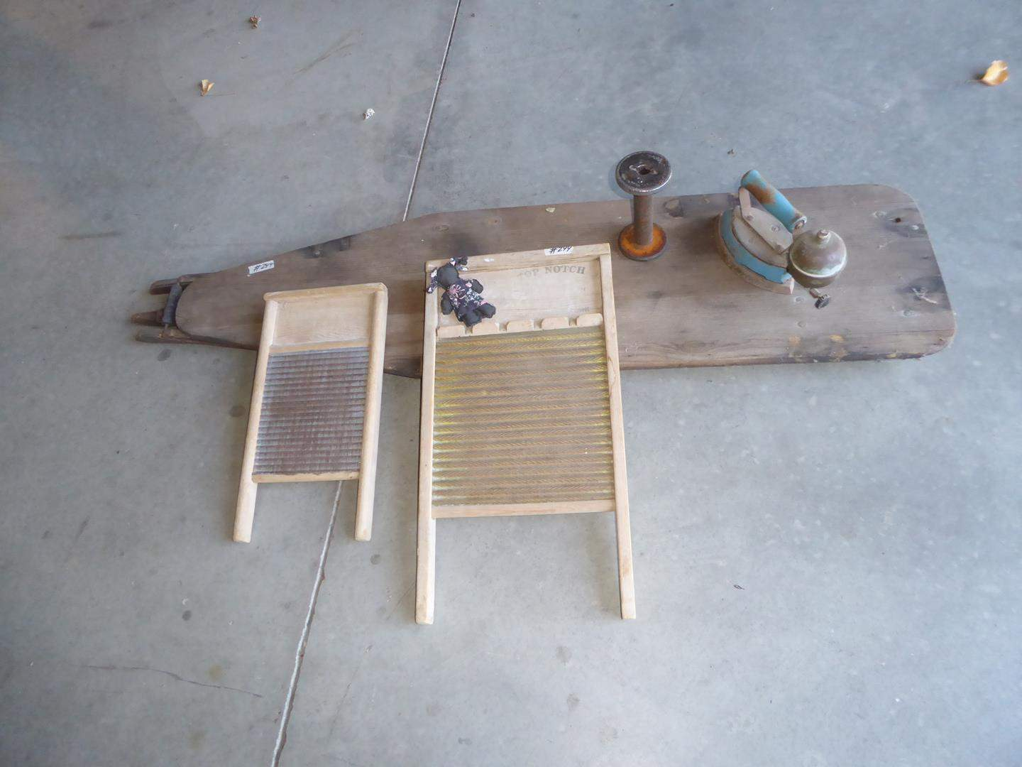 Lot # 244 - Vintage Washboards, Spool, Iron & Wooden Ironing Board (main image)