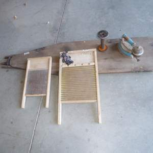 Lot # 244 - Vintage Washboards, Spool, Iron & Wooden Ironing Board