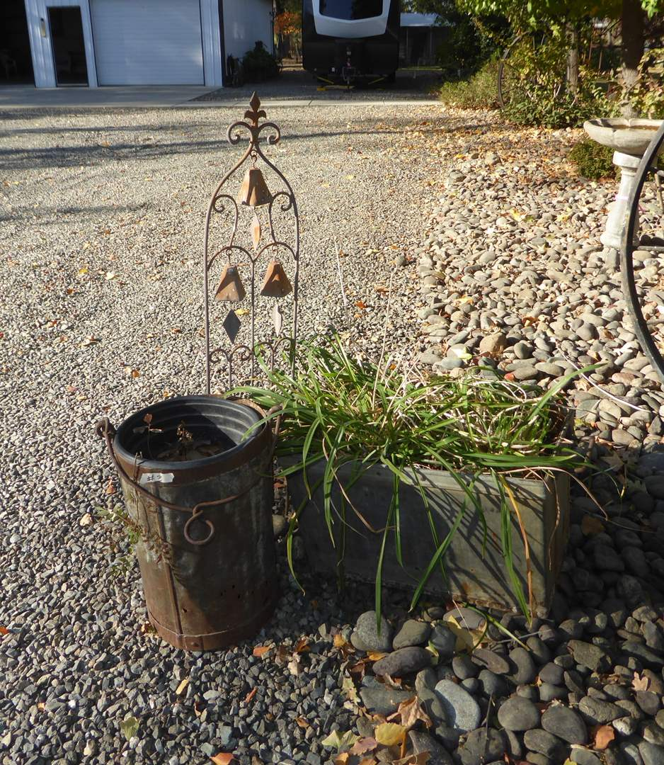 Lot # 3 - Old Metal Box W/Handles Metal Bucket & Bells  (main image)