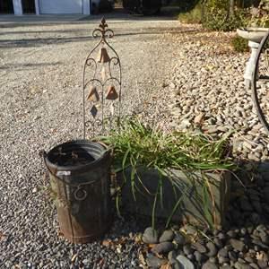 Lot # 3 - Old Metal Box W/Handles Metal Bucket & Bells