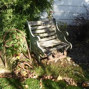Lot # 5 - Cute Small Cast Iron Bench With Wooden Slats & Handmade Horseshoe Yard Art