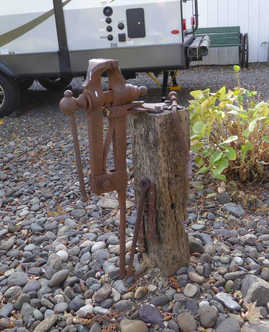 Lot # 15 - Antique Vise Yard Art (Needs To Be Removed From Stump)  (main image)