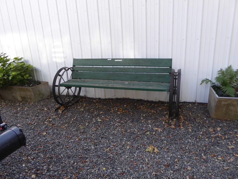 Lot # 16 - Wagon Wheel Garden Bench  (main image)