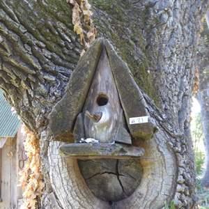 Lot # 21 - Adorable Handcrafted Wood Bird House W/Metal Horseshoe Shelf