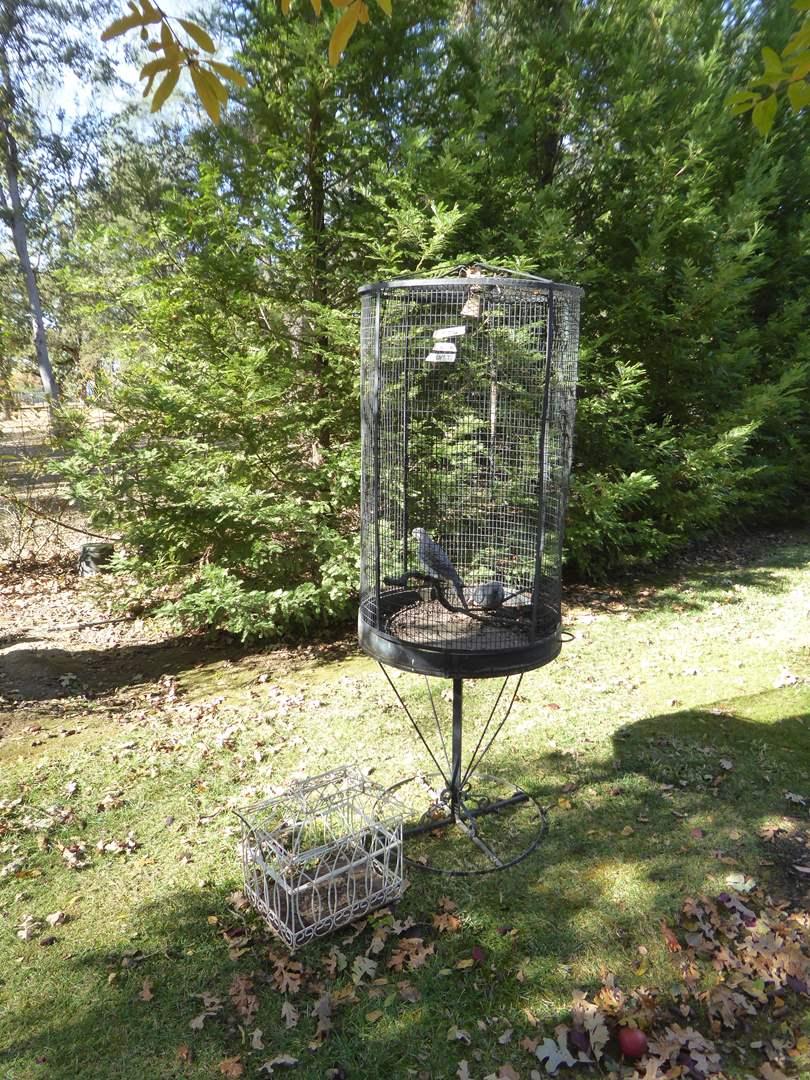 Lot # 26 - Unique Tall Metal Bird Cage & Smaller Bird Cage  (main image)
