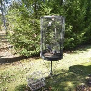 Lot # 26 - Unique Tall Metal Bird Cage & Smaller Bird Cage
