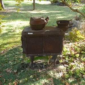 Lot # 27 - Vintage Cast Iron Stove & Cast Iron Tea Pot