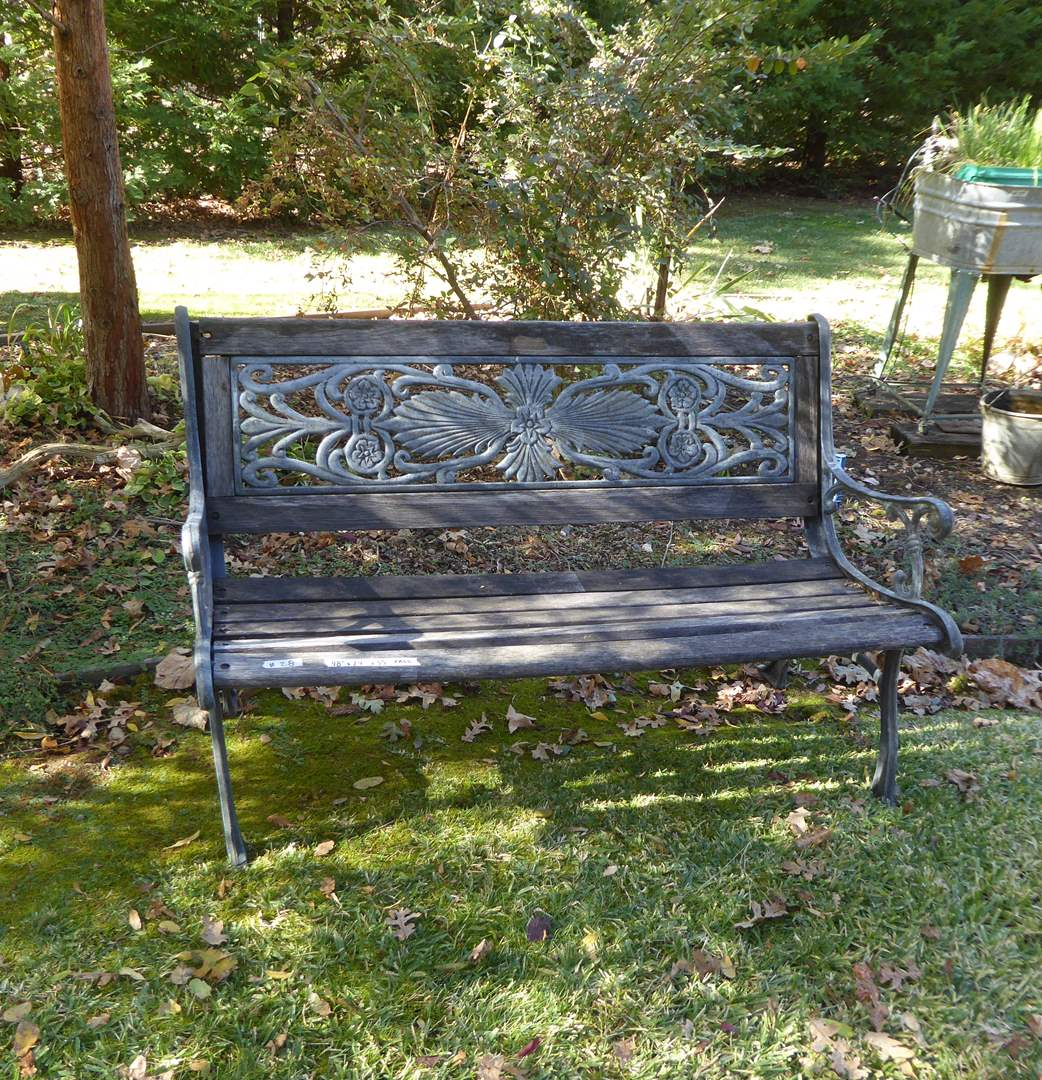 Lot # 28 - Cast Iron & Wood Garden Bench  (main image)