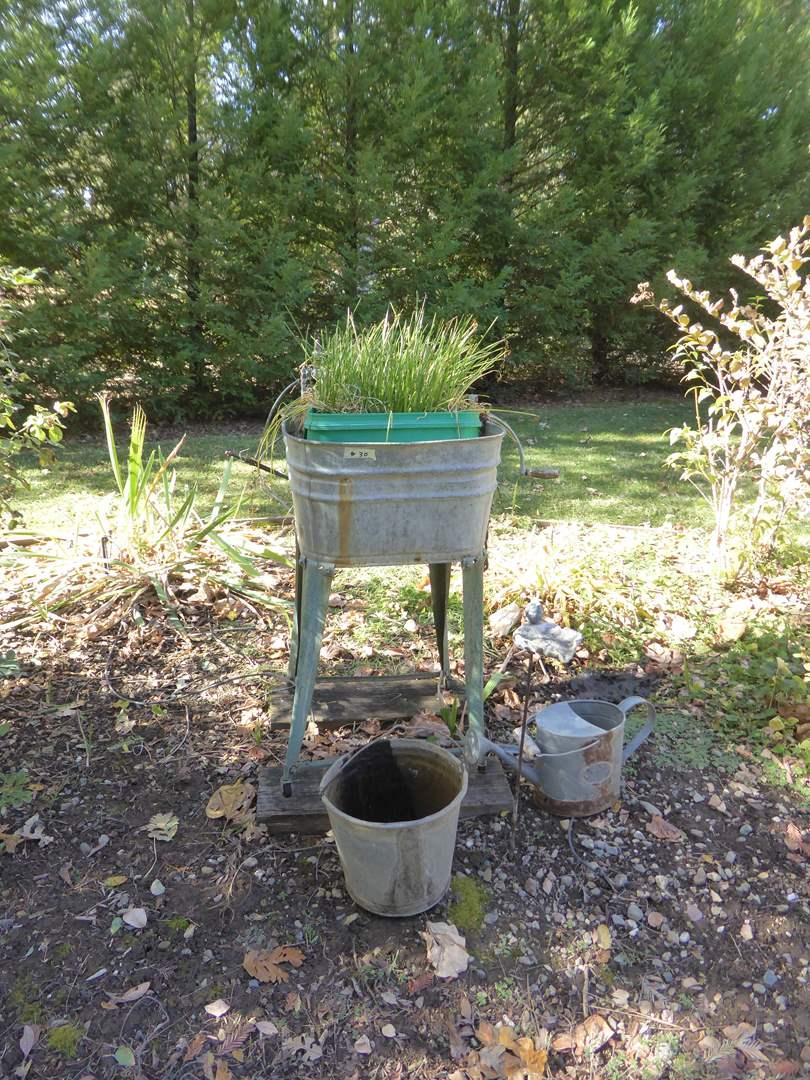 Lot # 30 - Vintage Galvanized Metal Wash Tub W/Hand Crank Ringer  (main image)