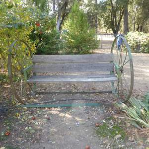 Lot # 31 - Huge Handmade Wagon Wheel Bench (Must Bring Help To Move)