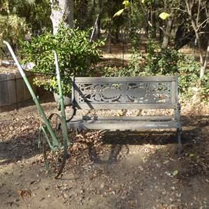 Lot # 32 - Cast Iron & Wood Garden Bench & Metal Push Garden Cultivator