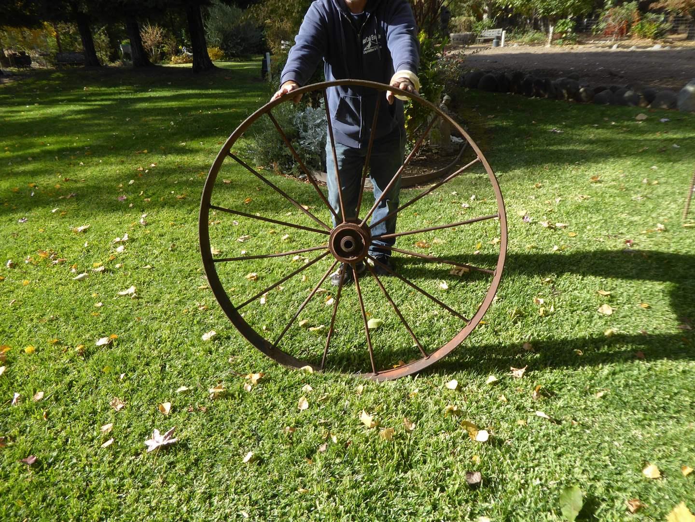 Lot # 36 - Large Vintage Metal Wagon Wheel  (main image)