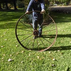 Lot # 36 - Large Vintage Metal Wagon Wheel