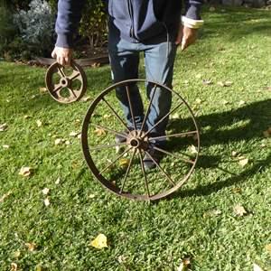 Lot # 37 - Two Vintage Metal Wheels