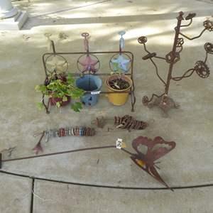 Lot # 42 - Garden Decor - Metal Planter & Garden Art
