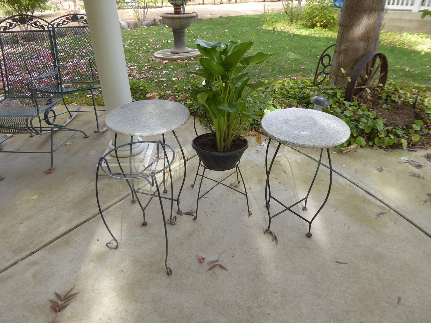 Lot # 43 - Metal Garden Tables W/Granite Tops & Other Plant Stands  (main image)