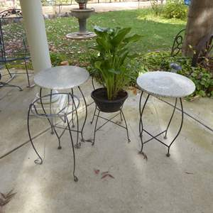 Lot # 43 - Metal Garden Tables W/Granite Tops & Other Plant Stands