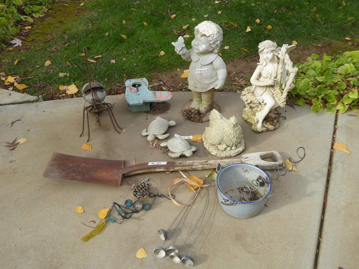 Lot # 45 - Resin & Cement Figurines & Metal Rock Ant  (main image)