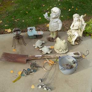 Lot # 45 - Resin & Cement Figurines & Metal Rock Ant