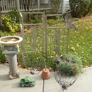 Lot # 46 - Metal Garden Trellis, Hanging Baskets & Bird Bath