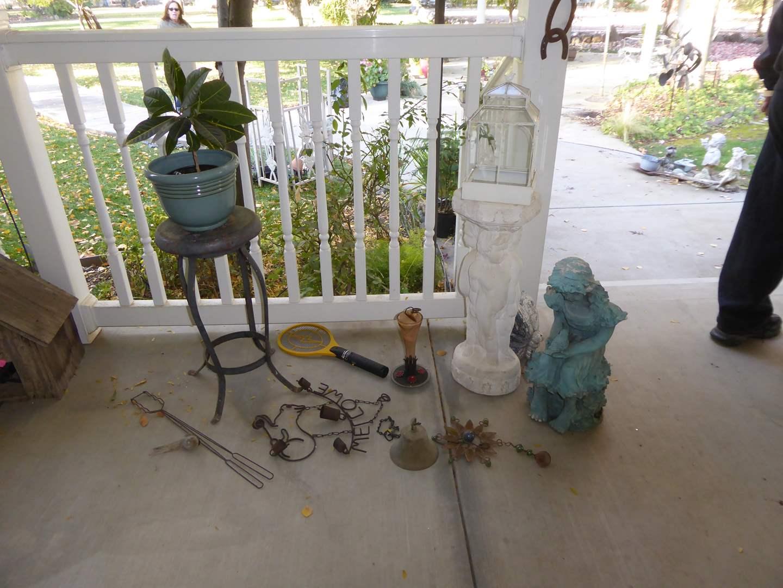 Lot # 102 - Vintage Metal Stool, Resin & Plastic Figurines & Live Plant  (main image)
