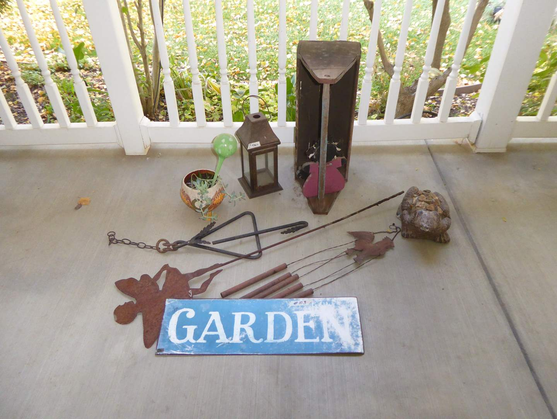 Lot # 103 - Dinner Bell, Garden Sign, Vintage Wooden Tool Box & More  (main image)