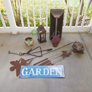 Lot # 103 - Dinner Bell, Garden Sign, Vintage Wooden Tool Box & More