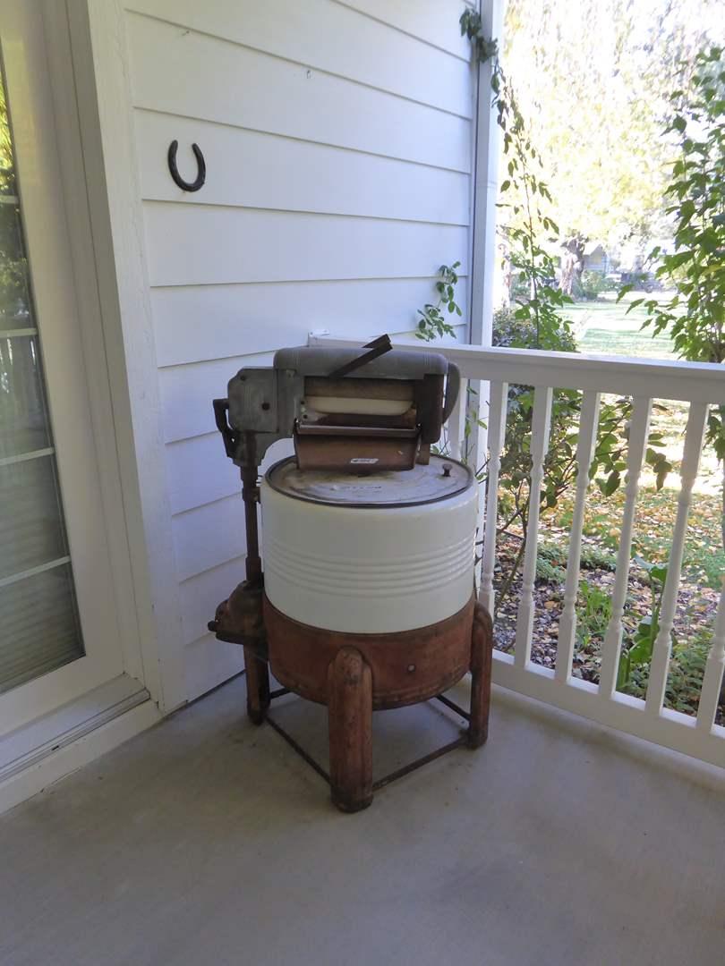 Lot # 104 - Vintage Round Ringer Washing Machine  (main image)