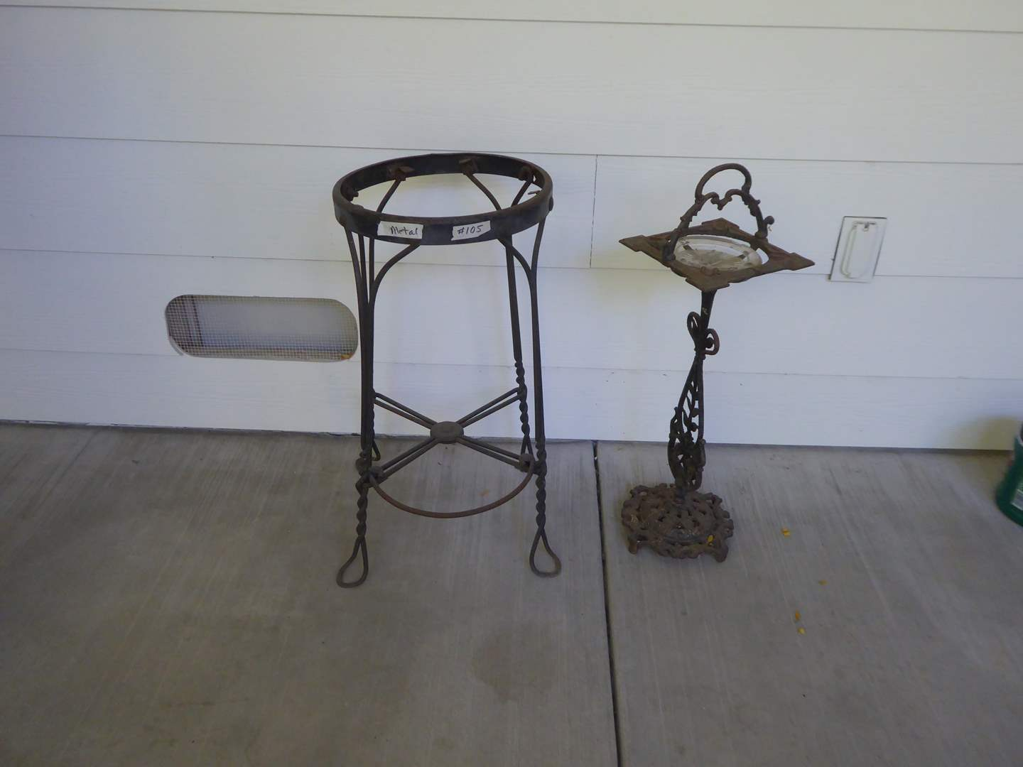 Lot # 105 - Metal Stool Frame Or Plant Stand & Vintag Ash Tray Stand  (main image)