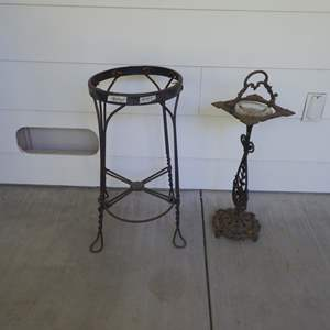 Lot # 105 - Metal Stool Frame Or Plant Stand & Vintag Ash Tray Stand