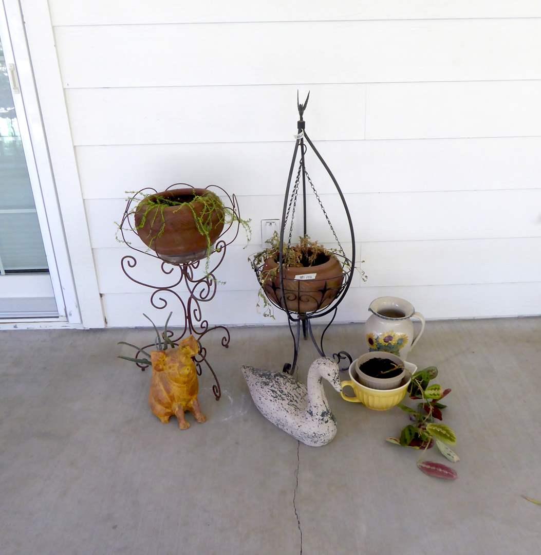 Lot # 106 - Ceramic Duck, Ceramic Pig Planter, Metal Planters & Plants  (main image)