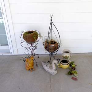 Lot # 106 - Ceramic Duck, Ceramic Pig Planter, Metal Planters & Plants