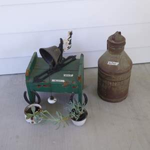 Lot # 110 - Cast Iron Bell, Small Wooden Step Stool, McColls Redding Milk Jug & Hanging Plants
