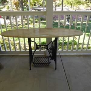 Lot # 112 - Heavy Plaster Table W/ Singer Base
