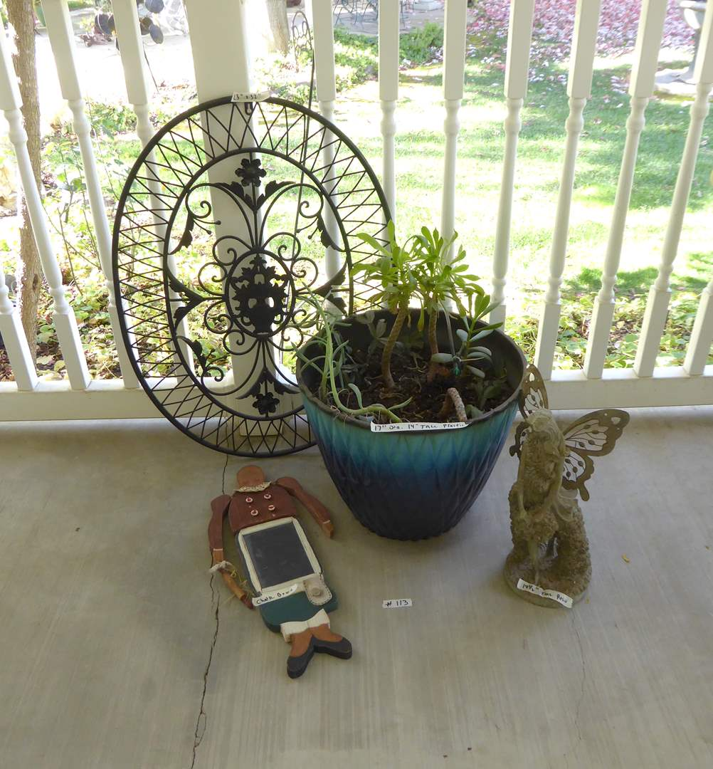 Lot # 113 - Metal Wall Hanging, Cute Chalkboard & Live Succulents  (main image)