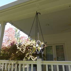 Lot # 115 - Handmade Hanging Horseshoe Planter W/Live Plant