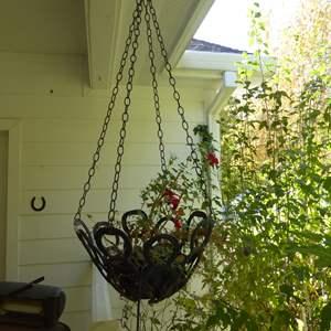 Lot # 118 - Handmade Hanging Horseshoe Planter W/Live Plant