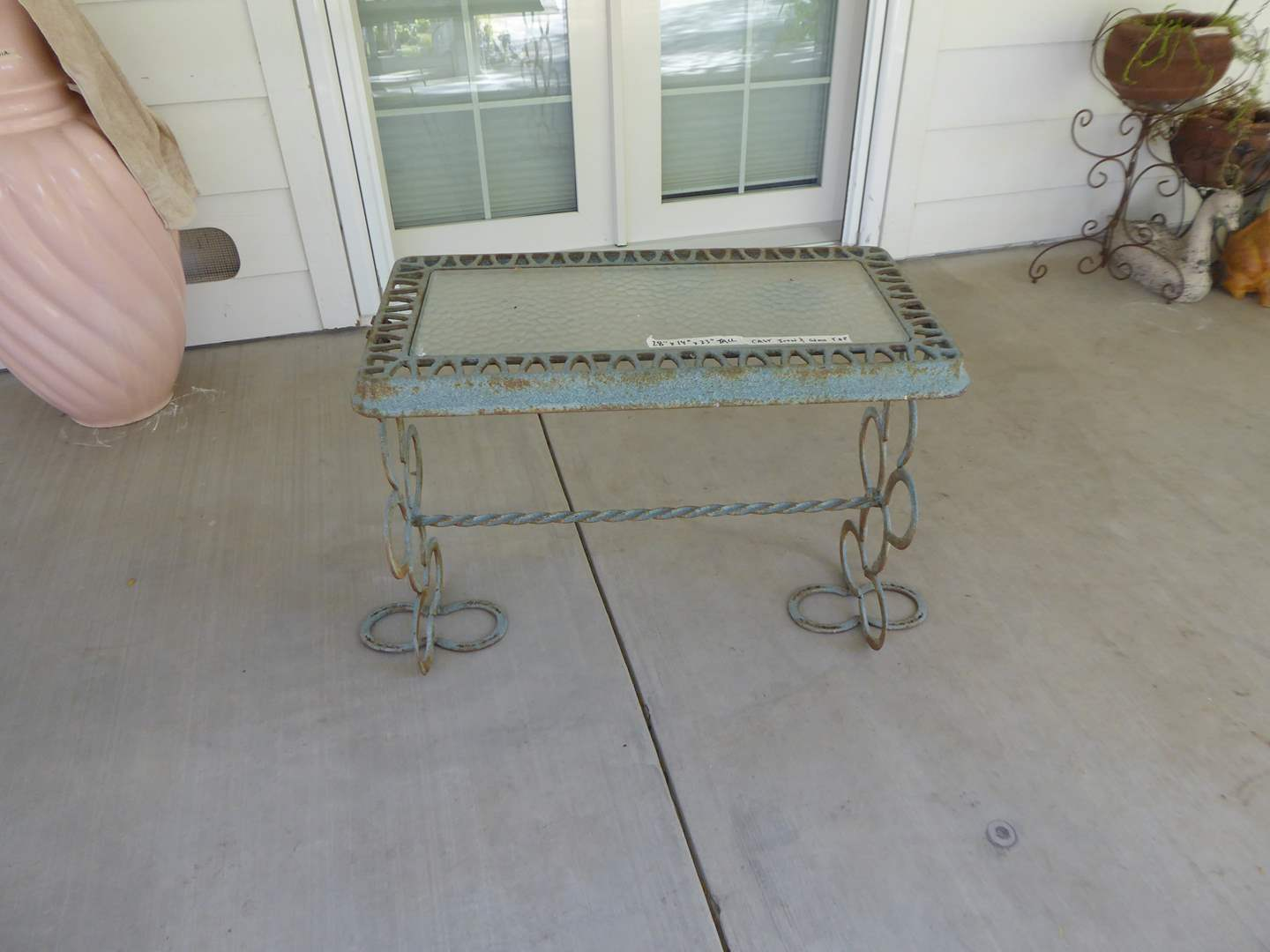 Lot # 119 - Handcrafted Cast Iron & Horseshoe Table W/Glass Top  (main image)
