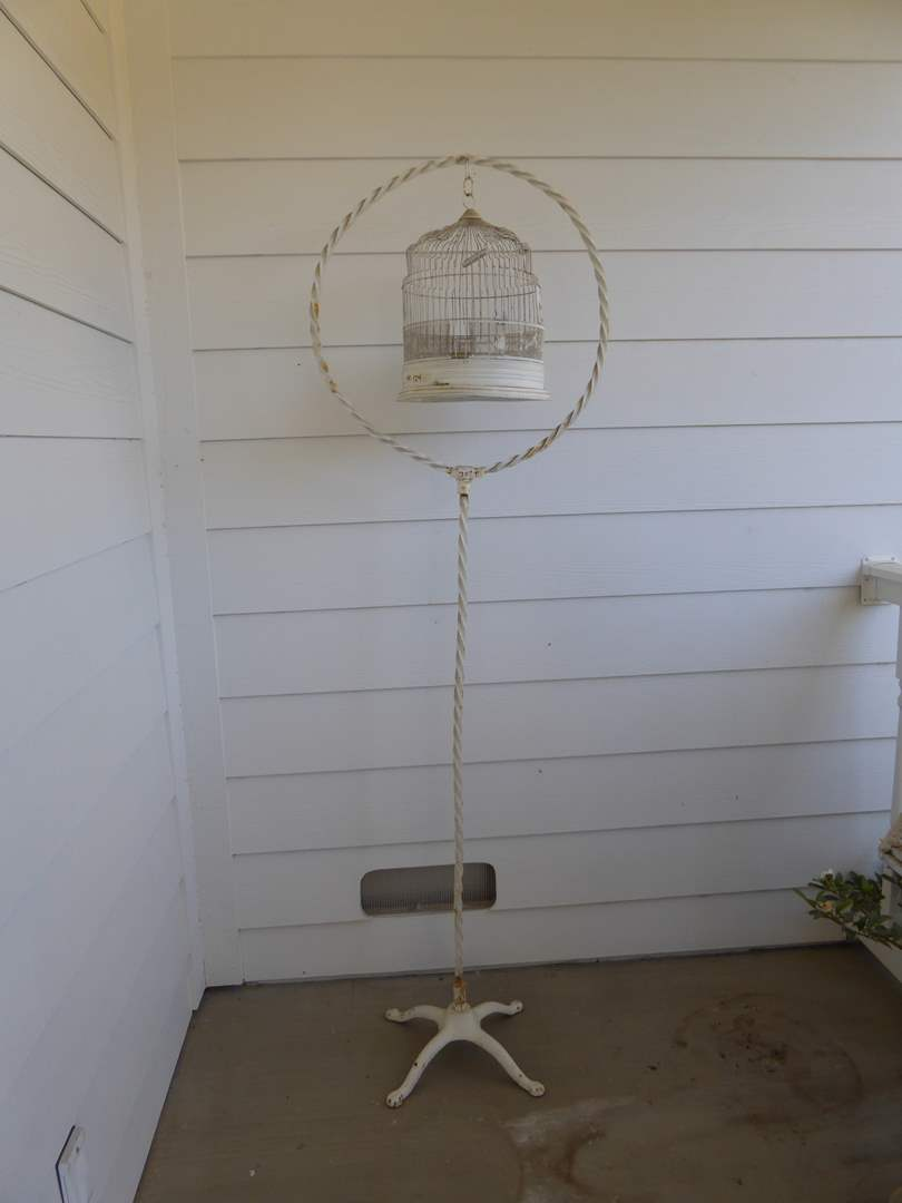 Lot # 124 - Vintage Metal Bird Cage With Stand  (main image)