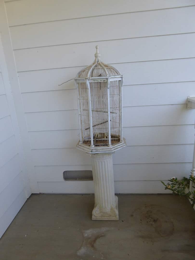 Lot # 125 - Vintage Metal & Wood Bird Cage With Plaster Column  (main image)