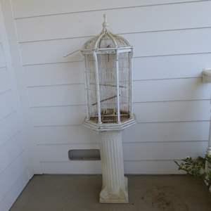 Lot # 125 - Vintage Metal & Wood Bird Cage With Plaster Column